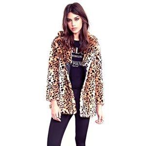 F21 Leopard Print teddy coat